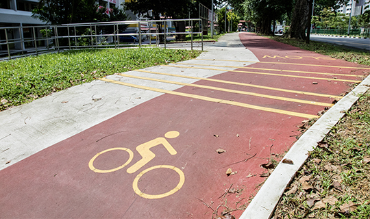 A red cycling path in Singapore
