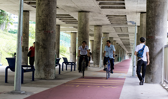 Cyclists riding along the Ang Mo Kio cycling path