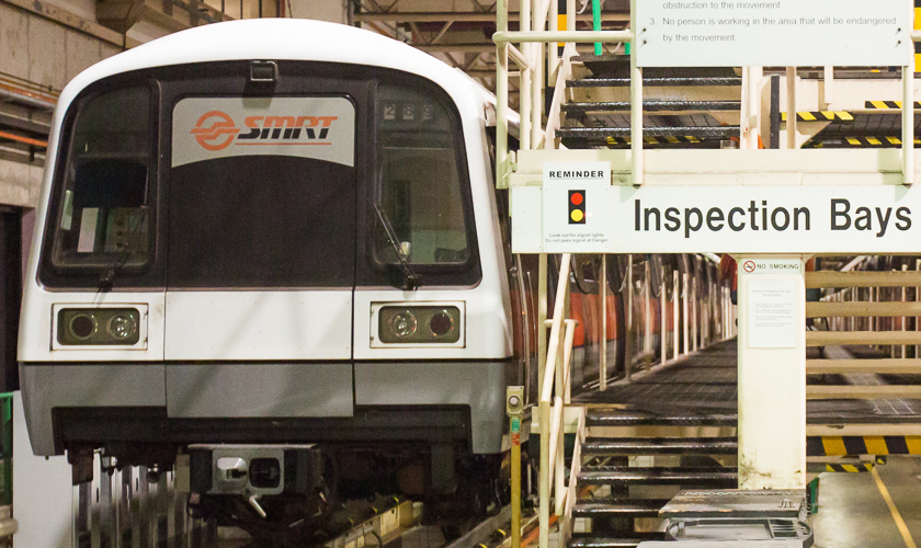 Image of a train at inspection bay.