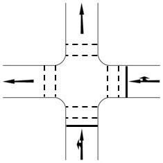 An example of a signalised junction with two or less vehicular approaches